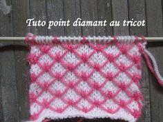 TUTO POINT DIAMANT AU TRICOT Diamond stitch knitting DIAMANTE PUNTO DOS AGUJAS - YouTube