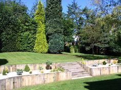 Daniel Nicolas Landscaping with new oak railway sleepers Photo 8 Garden Retaining Wall, Landscaping Retaining Walls, Sloped Garden, Small Backyard Landscaping, Sloped Backyard, Backyard Ideas, Garden On A Hill, Terrace Garden, Lawn And Garden