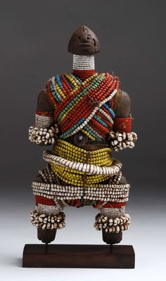 Africa | Doll from the Namji people of northern Cameroon | Wood, glass beads, shells and natural fiber