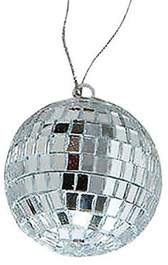 """Cool & Custom {2"""" String Hang} Single Unit of Rear View Mirror Hanging Ornament Decoration Made of Zinc Alloy w/ Retro Classy Sparkly Shiny Disco Ball Charm Design [Lexus Silver Colored] mySimple Products"""
