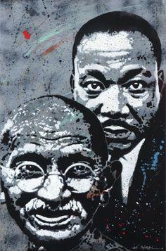 Marthin Luther King & Mahatma Gandhi by Jef Aérosol