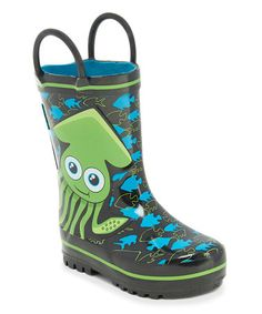 This Black & Blue Neptune Rain Boot is perfect! #zulilyfinds