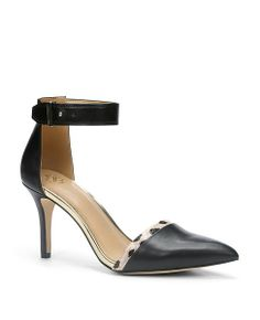 super cute ankle strap heels - I love the little pop of print detail on the front