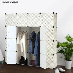 iKayaa Clothes Wardrobe Storage Fashion Multi-use Clothes Closet Wardrobe Cabinet DIY Cloth Shoes Storage Organizer