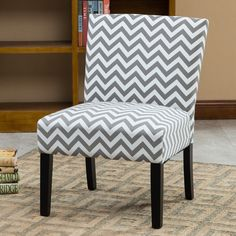 Botticelli Grey Wave Print Fabric Armless Contemporary Accent Chair featuring polyvore, home, furniture, chairs, accent chairs, grey, colored chairs, gray chair, grey occasional chair, grey accent chairs and padded chairs