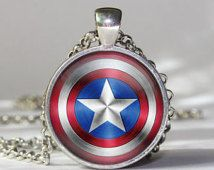 Captain America pendant Captain America necklace,Captain America Shield pendant necklace gift girlfriend boyfriend gift best friend gift