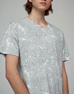 Camiseta gris estampada hojas - Camisetas - Ropa - Hombre - PULL&BEAR España