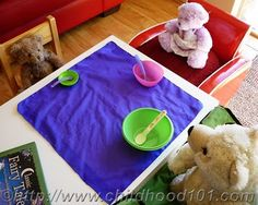 book extension play, re-creating Goldilocks and the Three Bears