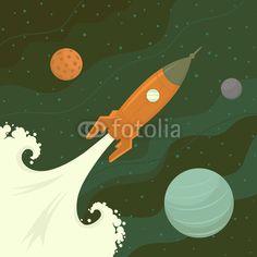 Vecteur : Launch of space rocket. Vector illustration.