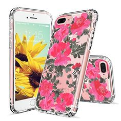 iPhone 7 Plus Case, iPhone 7 Plus Case Clear, MOSNOVO Red Floral Flower Pattern Clear Design Transparent Plastic Hard Back Case with TPU Bumper Protective Case Cover for Apple iPhone 7 Plus Inch) Pretty Iphone 7 Cases, Iphone 7 Cover Case, Girly Phone Cases, Iphone 7 Plus Cases, Protective Cases, Cell Phone Accessories, Apple Iphone, Samsung Galaxy