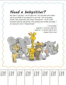 Printable Babysitting Flyer Template - $12.99   Babysitting ...