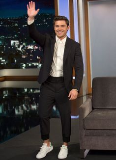 Zac Efron On Jimmy 2015 - Adidas Stan Smith with suit