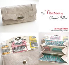 The Necessary Clutch Wallet - Emmaline Sewing Patterns and Purse Supplies- I have leftover typewriters!
