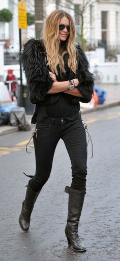 black on black on black- her style is always spot on.