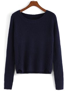 Blue Round Neck Crop Knit Casual Sweater