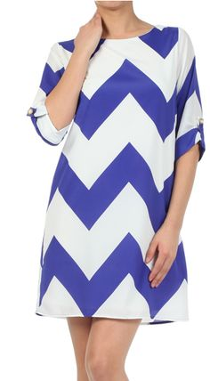 Sleeved Chevron Print Dress - Blue Marked down to only $32.50!