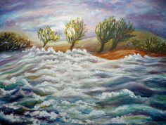Painting «Stormy Sea» by Nadine Lière, Acrylic on canvas board, 60 x 50 cm, 2014, grenadine-art.eu