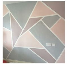 For a kids room.Painted wall in Everlong Paint Earl grey and Sophia to create geometric shapes Room Wall Painting, Room Paint, Paint Walls, Wall Paintings, Geometric Wall Paint, Geometric Shapes, Tape Wall, Accent Wall Bedroom, Accent Walls