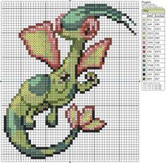 Cross-stitch PokeMon Characters... Flygon cross stitch pattern 64h 54w