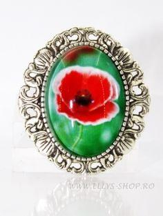 Brosa pandantiv mac in iarba Floral, Rings, Flowers, Handmade, Shopping, Jewelry, March, Spring, Fimo