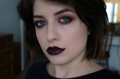 "Heroin Chic Makeup Tutorial....  This is a rather beautiful day and night look without the over-the the top penciled brows...substitute taupe and chocolate for the black liner and wine lashes...hype up the cheeks and nude lips and you've got a 1700's ""Versaille"" look..."