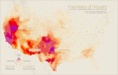 Five Years of Drought is a digital online map chosen by Esri cartographers to be featured in Maps We Love. The map combines five years of intense weekly drought data. Map Geo, Creative Infographic, Infographics, Heat Map, Bear Tattoos, Remote Sensing, Color Scale, Information Graphics, Data Visualization