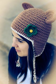 Oh my goodness, cute!! // Baylor Bear Earflap hat
