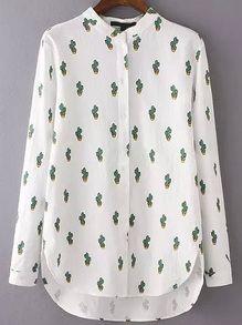 High Low Cactus Print Blouse