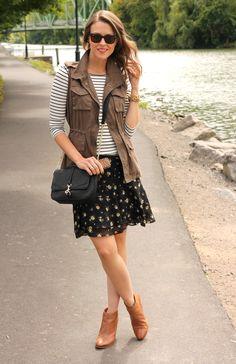 Love a feminine skirt with a cargo vest.