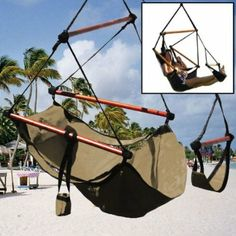 $42.63  Amazon.com - New Deluxe Tan Sky Air Chair Swing Hanging Hammock Chair W/ Pillow & Drink Holder