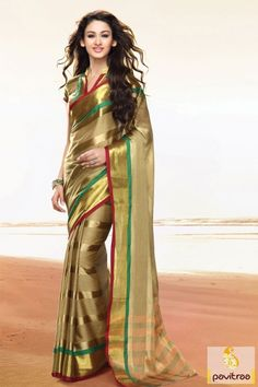 Be a style with golden and multi color pure cotton saree. Order online this casual office wear saree comes with dhupion blouse at reasonable price range. #saree, #casualsaree more: http://www.pavitraa.in/store/cotton-sarees/