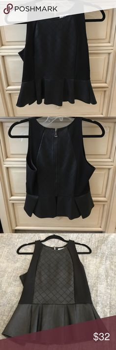 Dolce Vita leather peplum top In great condition black leather detail peplum top DV by Dolce Vita Tops Tank Tops