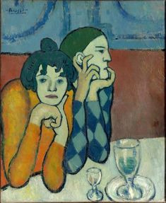 Pablo Picasso, 1901, Harlequin and his Companion (Les deux saltimbanques), oil on canvas, 73 x 60 cm, Pushkin Museum, Moscow - Picasso's Blue Period - Wikipedia, the free encyclopedia
