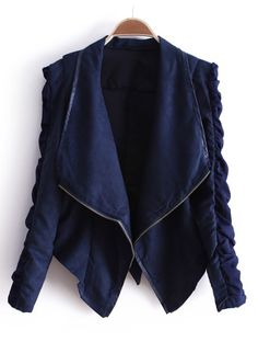 Navy Lapel Long Sleeve Zipper Drawstring Crop Coat