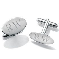 Men's Sterling Silver Personalized Cuff Links