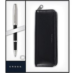 Century II Chrome/Translucent Black Lacquer Rollerball Pen with Black Leather Pen Pouch With Polished Chrome Plated appointments