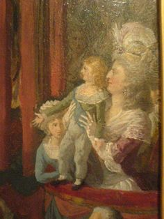 Marie-Therese Charlotte de France, Louis-Charles, dauphin de France, and Marie Antoinette in a detail of tableau of the 14 July 1790 Fete de La Federation by Charles Thevenin