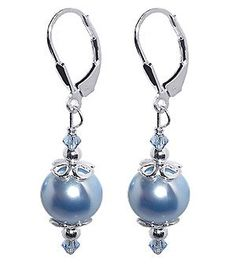 SCER033 Sterling Silver Blue Imitation Pearl Crystal Earrings Made with Swarovski Elements