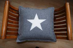 Beautiful Grey and Cream Wool Star Cushion
