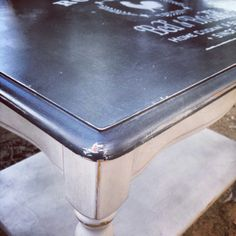 Vintage Coffee Table painted with Annie Sloan Chalk Paint in Paris Grey and Graphite, clear and dark waxed.