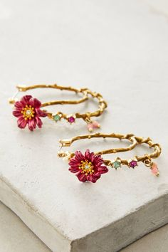 at anthropologie Climbing Floral Hoops