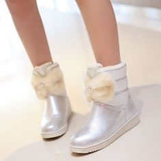 Sweet Womens Round Toe Fur Furry Winter Round Toe Bowknot Ankle Boots Pull On Sz