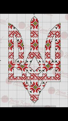 Тризуб Charts And Graphs, Folk Fashion, Monochrom, Ua, Cross Stitching, Pattern Fashion, Cross Stitch Patterns, Embroidery Designs, Beads