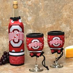 Ohio State Buckeyes Wine Bottle & Glasses 3-Piece Woozie Set