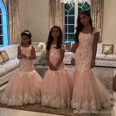 Champange And Ivory Lace Mermaid Flower Girl Dresses For Weddings First Communion Dresses For Kids