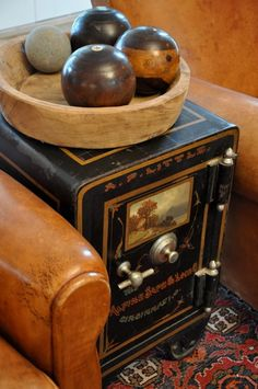 Antique Safe serving dual purpose as a side table...