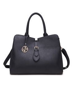 Look at this Black Buckle-Top Satchel on #zulily today!