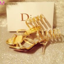 2016 Handmade Sneak Style Rhinestone High Heel Shoes Gladiator Gold Summer Sandals Bridal Shoes Wedding Party Prom Sexy Pumps(China (Mainland))