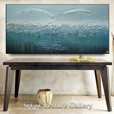 70 x 30 HUGE Original Abstract Impasto Texture Silver Gray Aqua Turquoise Beach Blue Pebbled Metallic Water Oil Painting by Je Hlobik
