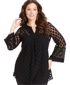 ea17188d17a3f Alfani Plus Size Three-Quarter-Sleeve Dot Lace Tunic Top Plus Sizes - Tops  - Macy s